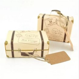 Wholesale Wholesale Mini Kraft Paper Bags - Kraft Paper Wedding Favor Box Chocolate Boxes Vintage Mini Suitcase Candy Box Sweet Bags Wedding Gift Box a233-a238