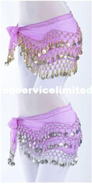 Wholesale belly dance costumes wholesale - High Quality 12 Colors 3 Rows 128 Coins Belly Egypt Dance Hip Skirt Scarf Wrap Belt Costume 100pcs lot
