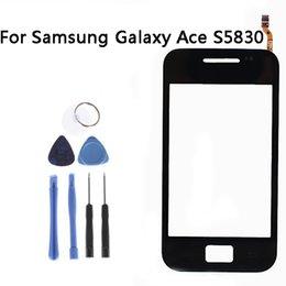 Digitalizzatore asso online-Sensore touchscreen nero all'ingrosso per Samsung Galaxy Ace S5830 Vetro per finestra Digitizer Touchscreen Parti di ricambio + Strumenti NP242