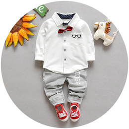 Wholesale Newborn Baby Bow Ties - Spring of new children's clothing Children Suit Boys Outfit bow tie shirt+ stripe casual pants Boy Suit Toddler Newborn Set Baby Wear LH09