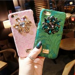 Wholesale Iphone Case Luxury Lace - Italy Luxury Diamond Flower Lace Hard Phone Case For Iphone 6 6s 6plus 7 7plus 8 8plus Back Cover Rainbow Crystal Pc Rhinestone