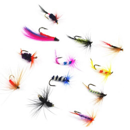 Wholesale Trout Flies Wholesalers - Fly Fishing Hooks 60 pcs Insects Style Single Hook Fish Lure Dry Fly Fishing Tackle Trout Salmon Flies Fly Tackle Set