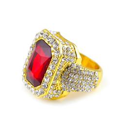 Hot vente mens hip hop bijoux strass solitaire anneaux européenne et américaine style cristal hiphop anneaux accessoires ? partir de fabricateur