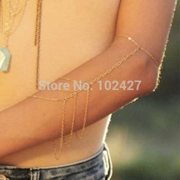 Wholesale Upper Body Harness - Fashion Women Upper Arm Bracelet Arm Chain Harness Sexy Chunky Body Chain Arms Cuff for Lady