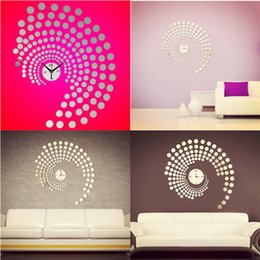 Wholesale Peacock Wall Sticker Decals - 3D DIY Rotating Peacock Dot Mirror Wall Clock Wall Sticker Home Decal Decoration Excellent Quality order<$18no track