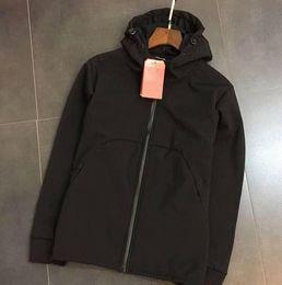 Wholesale Velvet Sportswear - 2017 New Fall windrunner Men sportswear high quality waterproof fabric Men sports Plus Velvet jacket Fashion zipper hoodie Free Shipping