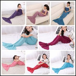 Wholesale Handmade Kids Bags - 13 Colors 140*70cm Kids Handmade Knitted Mermaid Blankets Mermaid Tail Blanket Crochet Blanket Throw Bed Wrap Sleeping Bag CCA8355 50pcs