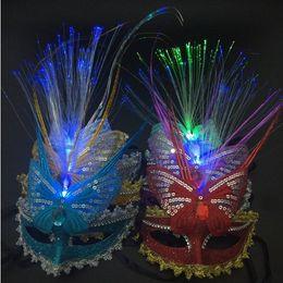 Wholesale Enchanting Wedding Dresses - LED Luminous Butterfly Mask Enchanting LED Mask LED Glowing Masquerade Mask Carnival Stage Masks Women Party Dress Dancing Birthday Masks