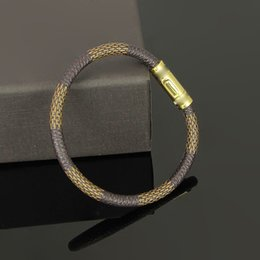 Wholesale Leather Bracelets Flowers - Top brand 316L Titanium steel bangle brand name for man bangle with genuine leather in 19cm length wedding jewelry Free Shipping PS5261A
