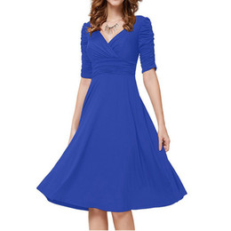 Wholesale Wholesale Plus Size Prom Dress - OL Women A line V neck Half Pleated Sleeve Casual Cocktail Prom Party Evening Dresses Plus sizes 19 Colours