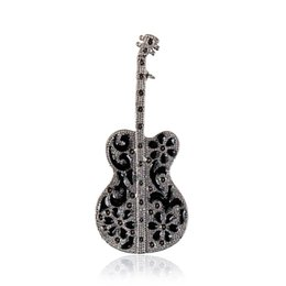 Wholesale Guitar Accessories Gifts - Fashion Broches Accessories Guitar Man Brooch Musical Instrument Brooches Corsage Dress Gift Accessory Unisex Brooch Lot 12 Pcs