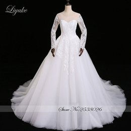 Wholesale Scalloped Sweetheart Tulle Ball Gown - Liyuke Amazing Elegant Sweetheart Neckline A-Line Wedding Dress Court Train Full Sleeves Satin With Tulle Bride robe de mariage