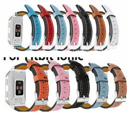 Wholesale Kinder Watch - Head layer cowhide Genuine Leather band Adjustable For Fitbit ionic Watchbands Strap Bracelet Two Kind 50PARI LOT
