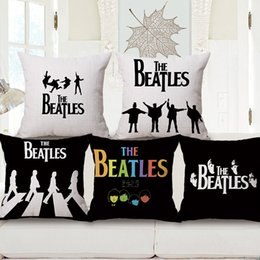 Wholesale Beatles Pillows - 5 Styles The Beatles Cushion Covers British Rock Music Beatles Art Cushion Cover Bedroom Decorative Linen Pillow Case For Sofa Chair
