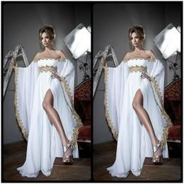 Белое золото кафтан онлайн-Арабский стиль с длинными рукавами золотое кружево и белые аппликации шифон Абая кафтан вечерние платья выпускного вечера с высоким разрезом платья партии