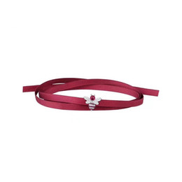 Wholesale red corundum - New Red Silk Ribbon Choker Necklace Red Corundum Bee Bar Chokers Necklace For Women collares mujer collier ras du cou Choker Bracelet