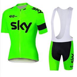 sky tour france jersey Rebajas Equipo del Tour de France 2015 SKY Cycling Jersey Set Manga corta para hombre Traje de ciclismo Ciclismo al aire libre XS-4XL Bicicleta desgaste
