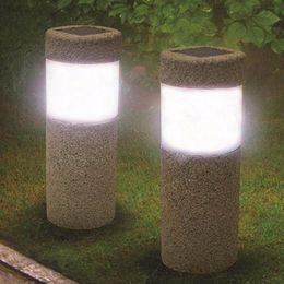 Wholesale Ul Portable Lamp - Solar Power Stone Pillar W hite LED Solar Lights Outdoor Garden Light Lawn Lamp Court yard Decoration Lamp 5W