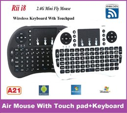 Wholesale Rii Mini Wireless Pc Qwerty - 10pcs Fly Air Mouse 2.4G RII Mini i8 Wireless QWERTY Keyboard Mouse Touchpad for PC Notebook Android TV Box Mini PC