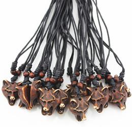 Wholesale Wholesale Wolf Head Pendant Necklace - Wholesale lot 12pcs Cool Yak Bone Powder Carved Wolf Head Pendant Necklace Choker Gift MN190