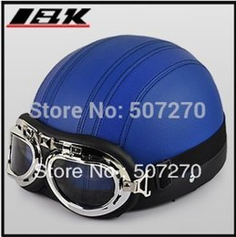 "Wholesale Helmet Ibk - Wholesale-D.11 ""IBK"" Leather Covered Half Face street Casque Motorcycle Full Blue Helmet Bicycle Casco & UV Goggles Adult M ,"