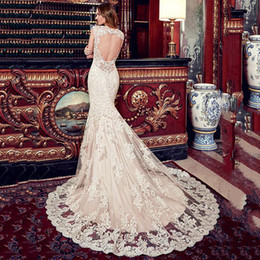 Wholesale Wedding Dress Mermaid Cut - Modest Tulle Sheer Jewel Neckline Cut-out Backless Mermaid Wedding Dress Luxury Lace Appliques Bridal Gowns Plus Size Wedding Dresses