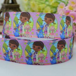 "Wholesale Grosgrain Printed Ribbon Doc - Free shipping 7 8"" 22mm Doc McStuffins Printed grosgrain ribbon,hairbow DIY handmade clothing materials wholesale OEM 50yards"