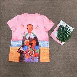 Wholesale Fashion Illustration Prints - 2018 summer fashion women's tops short sleeve tee tops luxury women's brand designer t-shirts large size illustration runway tees pink G3217