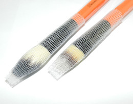 Wholesale Wholesale Wood Pen Kits - Professional Makeup Cosmetic Beauty Brush Protector Pen Guards Make Up Brushes Sheath Mesh Netting Protector Cover Wood Handle Makeup Tools