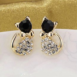 Wholesale New Korean Womens - 12pairs New Fashion Korean Delicate Bow Bling Rhinestone Crystal Cat Shape Womens Ear Stud Earrings Jewelry Gift Free Ship