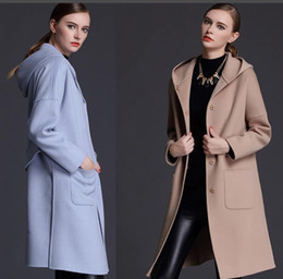 Wholesale Outerwear Ladies Wholesale - woman winter wool coats hooded light blue camel 2018 fashion high quality maxmara cashmere coats ladies Outerwear woolen coats