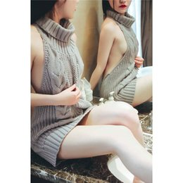 Wholesale cosplay virgin - 2018 New Womens Ladies Sleeveless Backless Virgin Killer Cosplay Sweater Knit Pullover Jumpers Knitwear 4 Colors