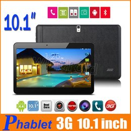 Wholesale Slim Gsm Tablet - 10 10.1 inch Tablet PC MTK6572 Dual Core 1G 8G Android 4.4 WCDMA 3G GSM Phone Call Phablet unlocked 1024*600 Dual Camera SIM Free DHL 10pcs