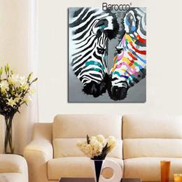 Современная абстрактная зебра онлайн-Современный Абстрактный Цвет Зебра Любовник Живопись Ручная Роспись Животных Картина Маслом Мода Стены Искусства Украшения Дома