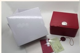 Wholesale Square Red Box Watch Papers - Luxury new square red for omega box watch booklet card tags and papers in english watches Box Original Inner Outer Men Wristwatch box om.