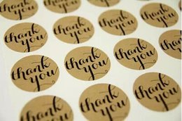 Wholesale Cheap Stickers Custom - 300pcs thank you sticker&label 38*38mm round kraft seal Self-adhesive accepet any size cheap custom paper gift stickers maker