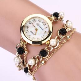 Перламутровые часы онлайн-2015 летний стиль новая мода женщины Женева искусственный жемчуг цветок цепи браслет наручные аналоговые кварцевые часы relogio feminino