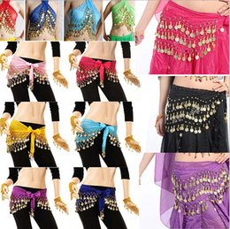 Wholesale High Quality Belly Dance - 3 Rows 98 Coins Belly Egypt Dance Hip Skirt Scarf Wrap Belt Costume High quality Stage Wear
