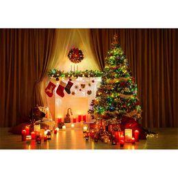Luci dell'albero di natale della candela online-Fondali orizzontali di fotografia di Natale Brown Tenda a forma di candela Regali di luce Scatole scintillanti Xmas Tree Holiday Night Party Photo Background