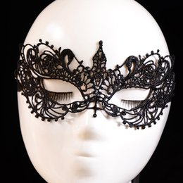 Wholesale venetian dresses - Wholesale-1PC Beautiful lady Black Lace Floral Eye Mask Venetian Masquerade Fancy Party Prom Dress Accessories drop shipping