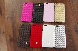 Wholesale Diamond Veneer - For iphone 6 6S 4.7 Plus 5.5 5 5S Woven Weave Knit Diamond Leather PC Plastic Hard Case Colorful Fashion Veneer Gluing Skin cover 10pcs