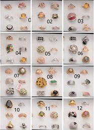 anel de casal de ouro branco de 14k Desconto 2016 Hot vendas Mista 24 estilo 24 pcs Moda de Luxo zircão anel de cristal liga anel Lady / girl anel atacado