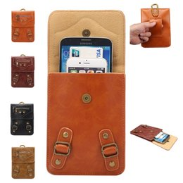 Wholesale Cell Phone Pouch Galaxy 4s - Crazy horse zipper purse Bag Pouch Universal leather wallet Case for iphone7 7plus 6s 5s 4s galaxy S5 S4 S6 edge Cell Phone