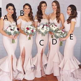 Wholesale Mermaid Mix - 2016 New Mermaid Light Pink Sequins Bridesmaid Dresses Bling Long Cap Sleeves Mixed Style Floor Length Split Wedding Party Gowns BA1593