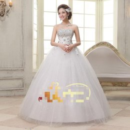 Wholesale Diamante Dresses - free shipping Embroidery 2015 de moda de nova princesa vestidos de casamento de luxo longo diamante vestido de casamento frete grátis CC021
