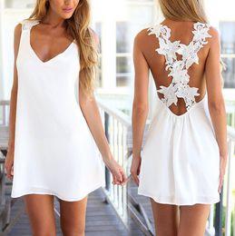 Wholesale Sexy Beach Miniskirts - 2015 New Casual Crochet Lace Miniskirt Summer Dresses For Women Style Beach Maxi Long White Dress Chiffon Robe Sexy Sundress order<$18no tra