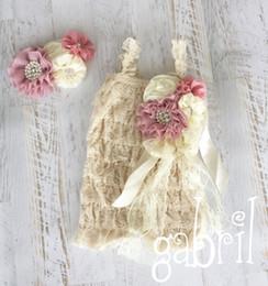 Wholesale Baby Girl Petti Lace - Beige Petti Lace Romper Matching Baby Headband & Brooch Clip Birthday Photo Prop Girls Romper 4set lot