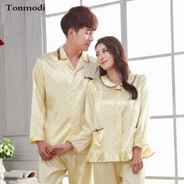 44e82951bd Wholesale- 2016 NEW Luxury Couples Pajama Set Silk Long sleeve Sleepwear  Polka Dot Love Men And Women Silk Satin Lounge Pajamas