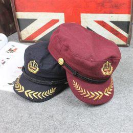 Wholesale Crown Derby - 2017 Unisex Woolen Crown Embroidery Military Hats Curved Brim Flat Top Trucker Sailor Captain Caps For Women