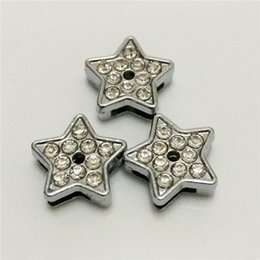 Wholesale Diy 8mm Star Slide Charms - Hot!!20PCS Lot 8MM Five-Pointed Stars Full Rhinestones DIY Slide Charms Silvery DIY Components Fit for 8MM Wristbands Bracelets Belts SC08